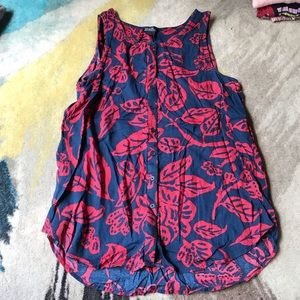 Lucky Brand Navy Red Button Up Tank Top